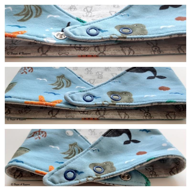 Kollaasikuva kuolalapun erilaisista kiinnitystavoista. Ylimmässä kuvassa vain uloimmainen neppari on kiinnitetty, keskimmäisessä molemmat nepparit ovat kiinni ja alimmassa vain sisin neppari on kiinni.