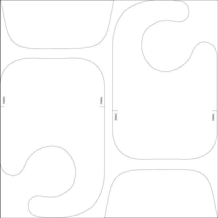 Ruokalapun leikkuusuunnitelma vaippapalalle, eli kangaspalalle, jonka koko on 50cm x 50 cm.